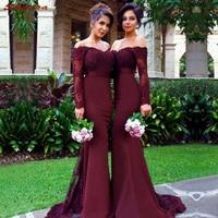 Lace Burgundy Bridesmaid Dresses Long for Wedding Party Women Brides Maid Dresses