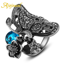 Ajojewel New Arrival Silver Luxury Blue Crystal Black CZ Flower Butterfly Rings For Women High Quality Female Vintage Jewelry