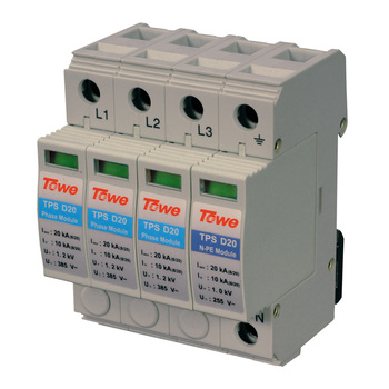 TOWE AP D20 3P+N Three-phase over voltage protector 3+1 protect mode with NPE 20kA overvoltage Thunder protector towe ap npe d20 power series surge protective device 1 npe modular imax 20ka 8 20 n pe surge arresters