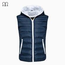 Fur Vest Men Vest Sleeveless Jackets Manteau Homme Warm Autumn Waistcoat Winter Hooded Cotton Padded Mens Gilet MT803
