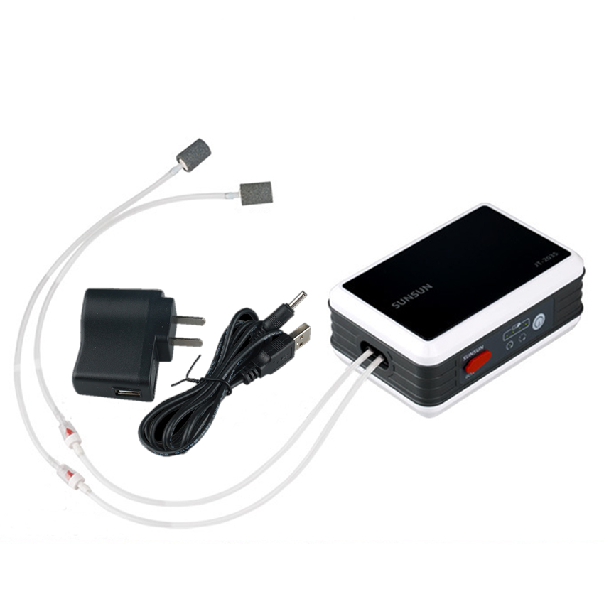 Akvārija sūknis āra litija baterijas pārnēsājamā skābekļa sūkņa aeratora kompresora dekoratīvo zivju gaisa kompresors 110V-240V / USB