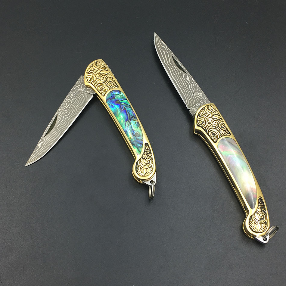 Handmade Damascus steel blade Pocket Folding Knife Yellow Brass +Abalone Shell Handle utility knife king double krn a5t 5 zirconia ceramic utility knife w sheath red white