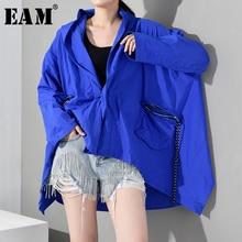 [EAM] 2019 New Autumn Winter Hooded Long Sleeve Blue Big Pocket Irregular Hem Size Windbreaker Women Trench Fashion YG4910
