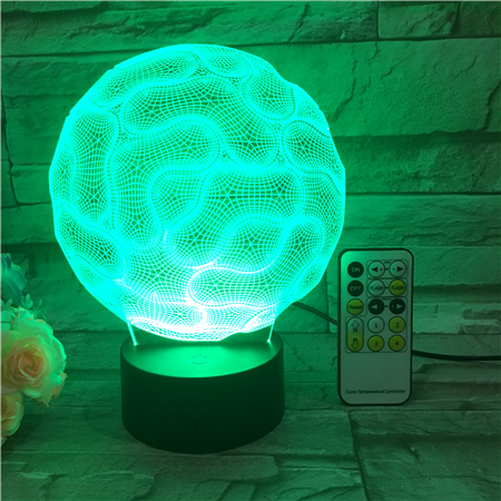 Abstract Brain Nightlight 3D USB Touch Switch & Remote Control Acrylic engrave 7 Color Gradient Atmosphere Table Lamp Drop Ship