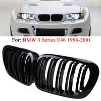 1 Pair Of ABS Plastic 2D Coupe Dual Slat Front Kidney Grille For BMW 3 Series E46 1998-2001 Gloss Matt Carbon Racing Grills