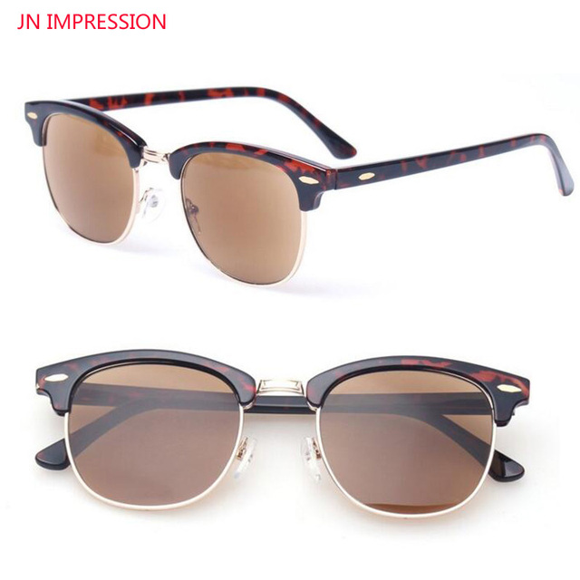 6b4b0c9cd3 JN IMPRESSION Retro Metal Half Frame Reading Glasses Readers Round Frame  Men Women Eyewears Include Sunglasses