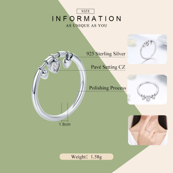 Clear CZ Glittering Heart Ring2