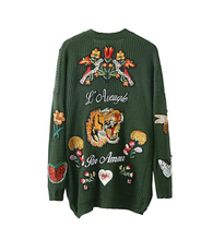 Oversized 2016 Winter Fashion Women Tiger Floral Embroidery knitting cardigans sweater Womens Knitted Female Cardigan pull femme