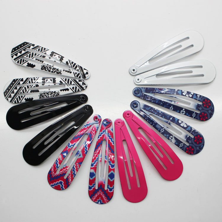 12 Pcs/set Fashion Hair Snap Clips Patterns Printed 5 Cm Metal Hairc Clips / Hair Pins Women /girl's Hairgrips Accessories