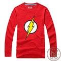 Flash Футболка С Длинным Рукавом Супер Герой Футболка DC Комиксов Мужчины Мальчик Одежда Косплей Футболка