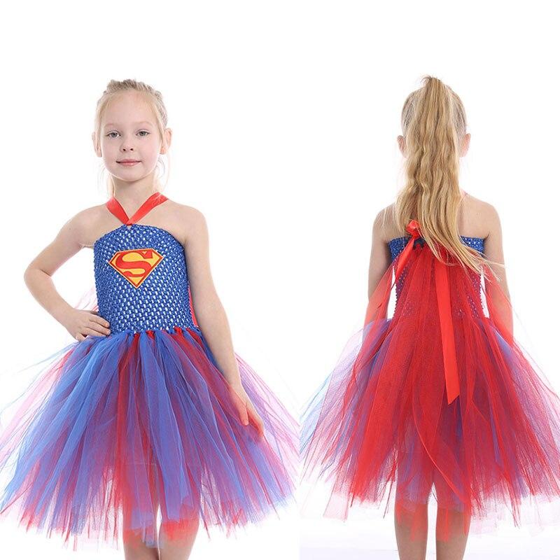 Handmade Girls Tulle Tutu Dress Cosplay Batman Superman Dress Wonder Woman Costume for Festival Birthday Party Halloween Dresses