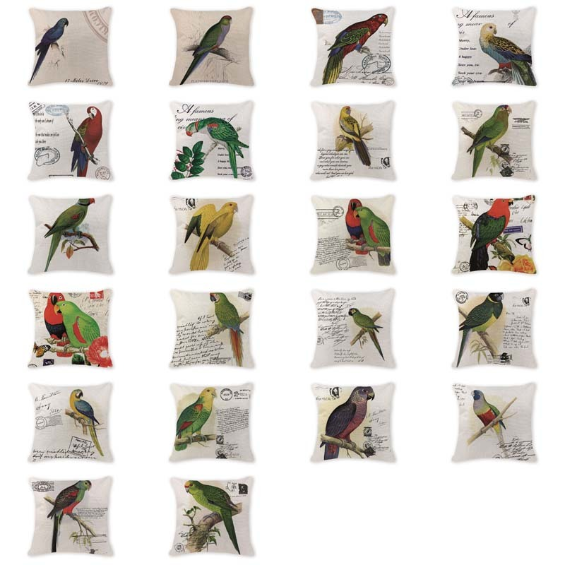 Painted Cushion Covers European Bird Animal Parrot Cushion Cover Bench Seats Cotton Linen Office Decor Pillow Case Covers