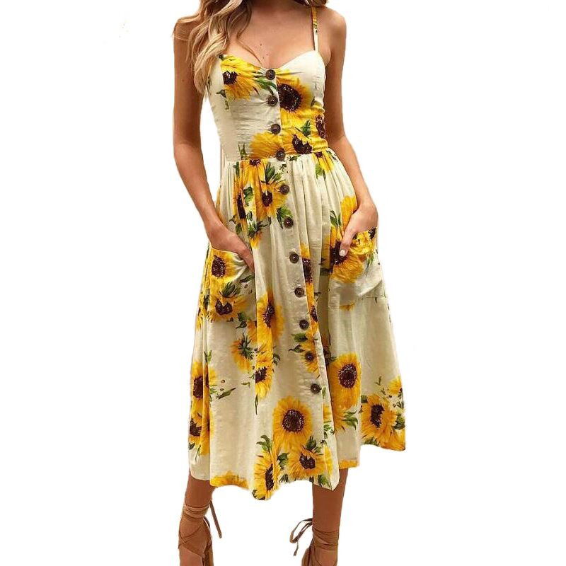 1c562899078d Sexy Summer Button Beach Boho Bohemian Dress Women 2019 Floral Print Polka  Dots Striped 17 Colors Plus Size 3XL Red Midi Dresses-in Dresses from  Women s ...