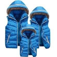 Inverno meninos meninas colete crianças peles com capuz coletes para crianças família outerwear casacos pai criança causal colete