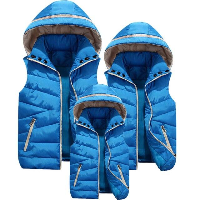 Inverno ragazzi ragazze gilet bambini gilet con cappuccio in pelliccia gilet per bambini famiglia capispalla cappotti gilet causale genitore figlio