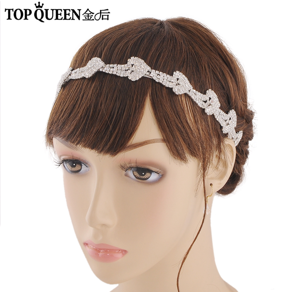 TOPQUEEN H301 Hot Sales Elegant Bridal Headbands Wedding Headdress With Diamond Bridal Headpieces Fast Shipping Wedding Hairband