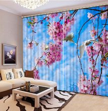 3d curtains customize Blue sky and white clouds curtain window Living room bedroom Window decoration(China)