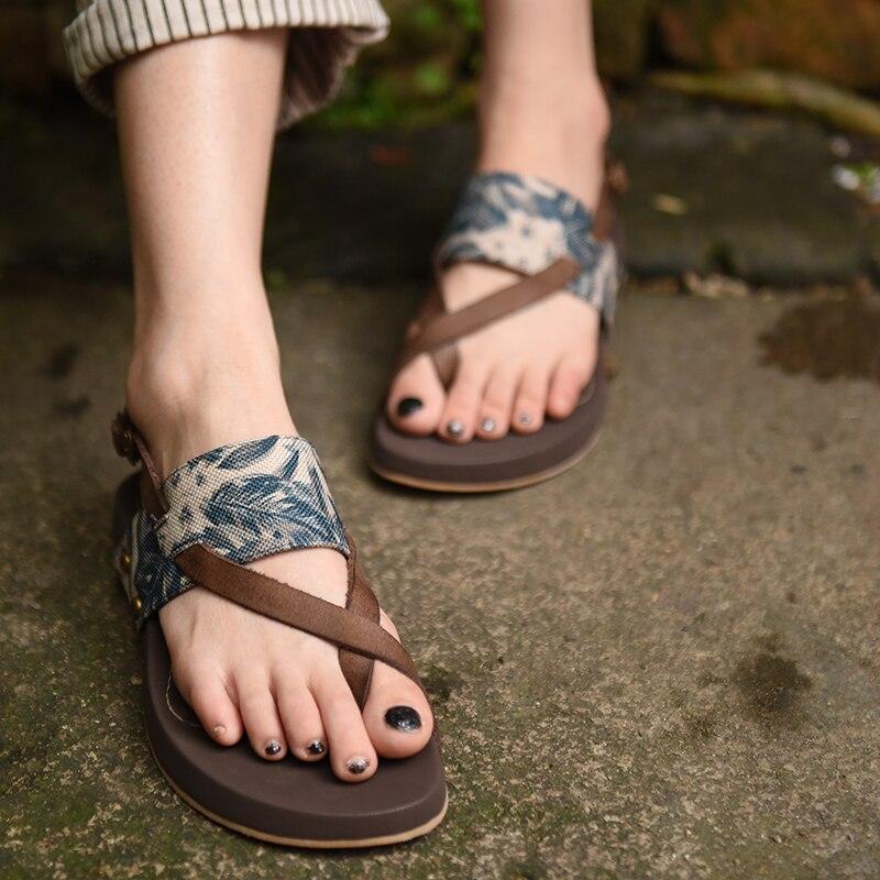 Artmu 원래 레트로 우아한 정품 가죽 수제 샌들 레저 일반 옥양목 발가락 가죽 비치 신발 1085 16-에서로우힐부터 신발 의  그룹 1