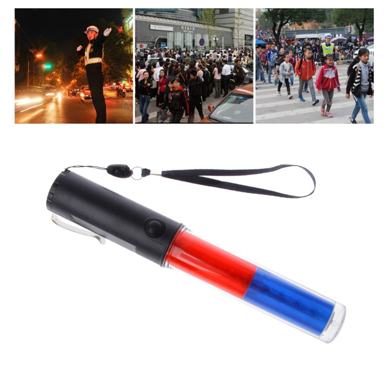 Powerful LED Flashlight Plastic Traffic Wand Torch 4 Modes Blizzard Flash