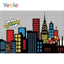 Yeele City Building Superhero Baby Birhday Party Comics Portrait Scene Photographic Background Photography Backdrop Photo Studio