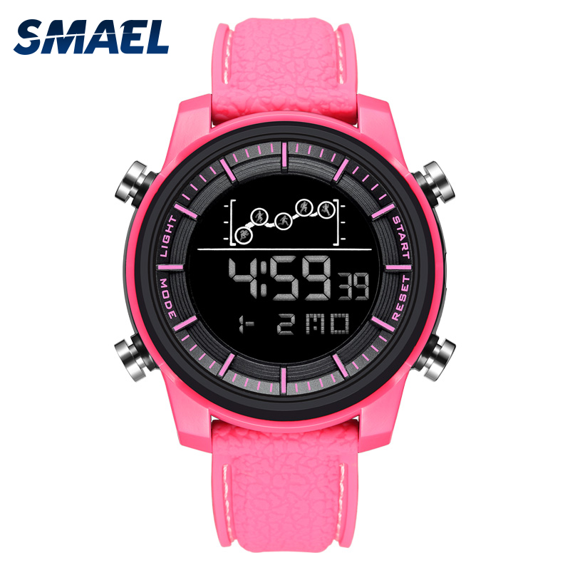 Women Watches Digital SMAEL Sport Watch Waterproof Chronograph Wristwatches LED Alarm Clocks 1556 Pink Reloj Mujer Digital Watch