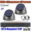 2CH vídeo cámara para vigilancia de HD 720 P IP cámara 1.0MP + grabador NVR con HDMI P2P / Onvif detección de movimiento Videcam sistema de CCTV