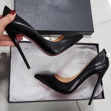 Moraima Snc Pointed Toe Woman High Heels Sexy 12CM Thin Heels Dress Shoes Black Nude Matter Leather Stiletto Heels cheap Basic Super High (8cm-up) Fits true to size take your normal size Fashion Shallow Rubber Spring Autumn Pumps Slip-On WOMEN
