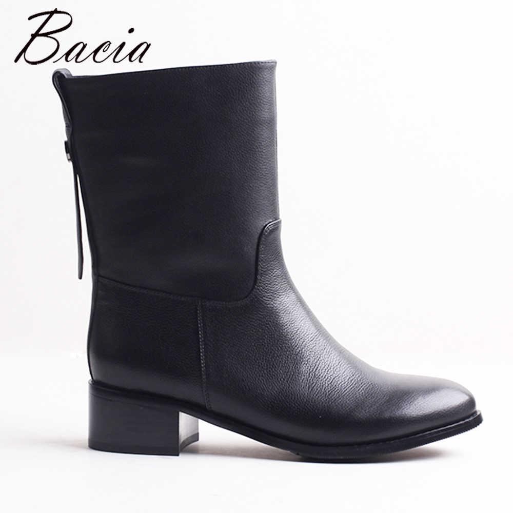 Bacia мотоциклетные зимние сапоги, женская обувь, теплые короткие плюшевые сапоги  до середины икры 6daa2458e3c