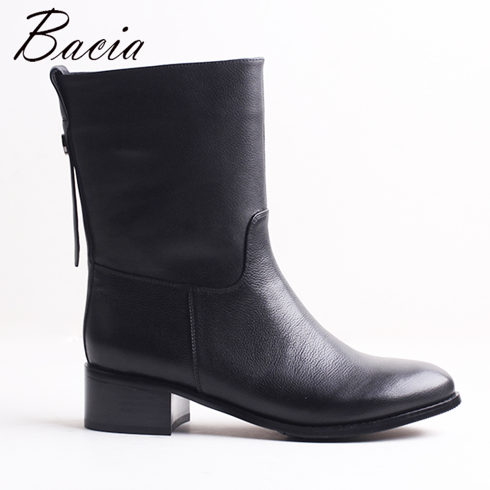 Bacia Motocycle Winter Boots Women Shoe Warm Short Plush Mid Calf Square Heels Boots Genuine Leather Handmade Shoes VXB043