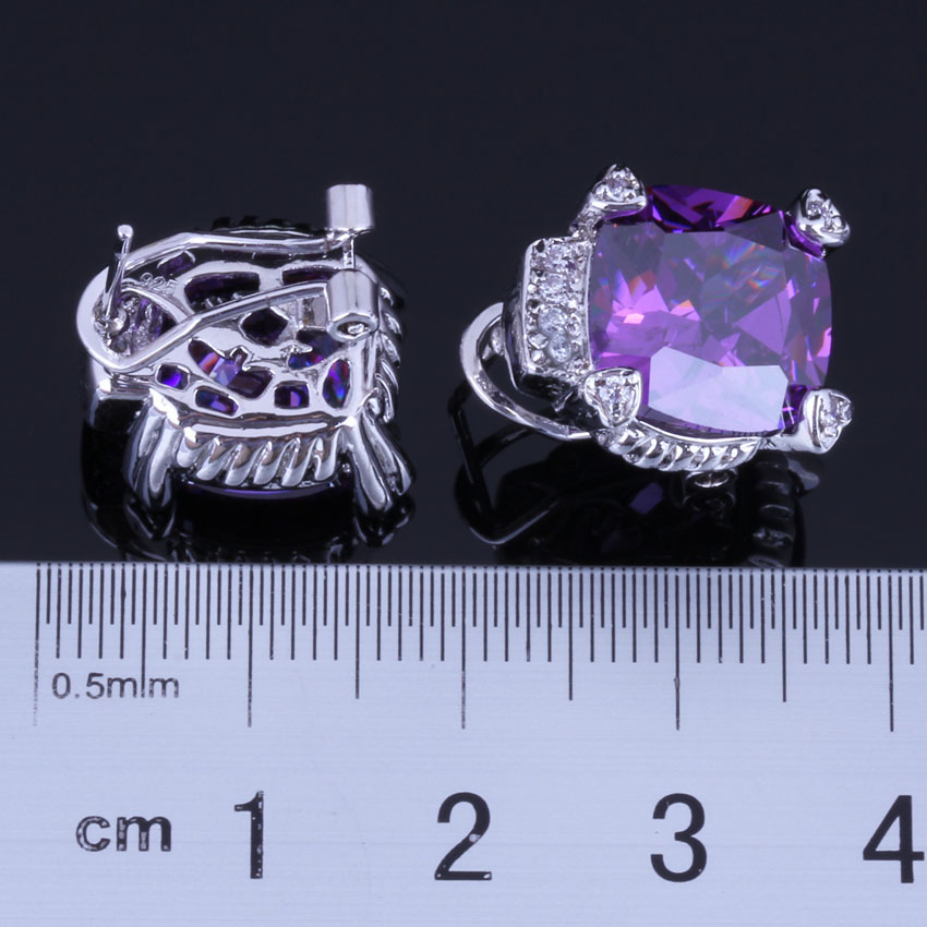 SUPERBE Rectangle Blanc Zircone cubique Dangle Earrings