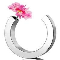 C shaped vases, flowers mirror vase office homes, stainless steel Tabletop decorative vases