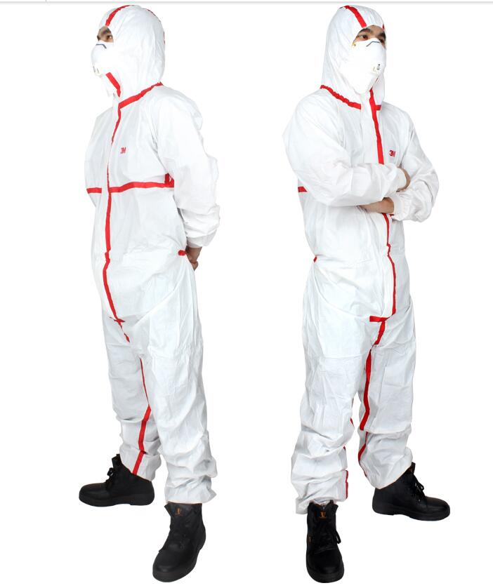 3M4565 Hooded Red Rubber Striped Breathable Protective Clothing Dust Suits Chemical Medical Rescue Workwear все цены