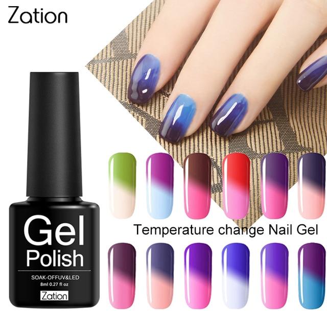 לאספקה תרמו נייל גליטר ג 'ל לכה חצי קבוע טמפרטורת שינוי צבע ג' ל לכות לספוג את מזל UV לק