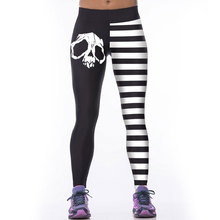 Skull Black And White Stripes Woman Leggins Leggings Sporting Legging Fitness Warm Sexy Printed 3D Autumn Pant Polainas