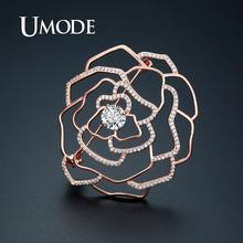 UMODE Rose Gold Color Flower Brooches Vintage Suit Pins Crystal Cubic Zirconia Women Luxury Jewelry Accessories UX0017A