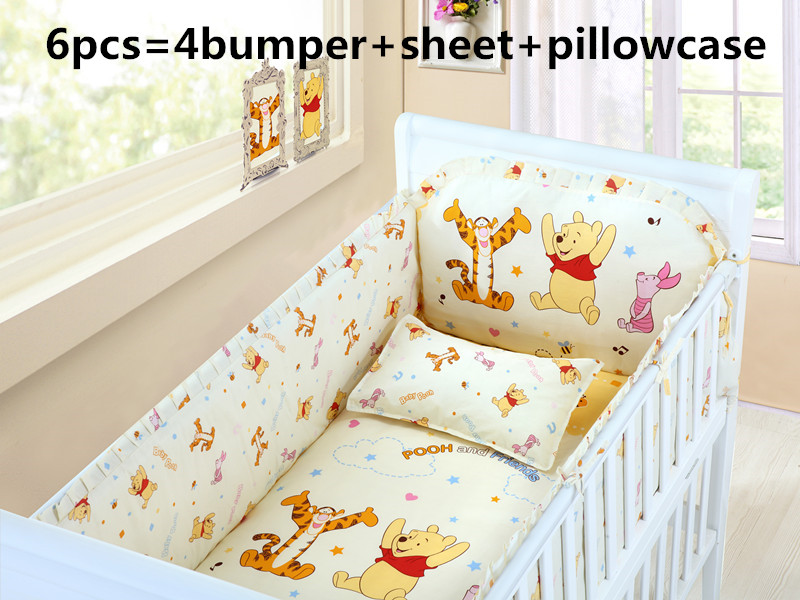 Promotion! 6PCS Baby Sleep More Comfortable,100% Cotton Fabrics Baby Bedding Sets (4bumper+sheet+pillow cover)