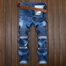 Europe and the United States Men Elasticity Slim Small straight Splicing locomotive jeans