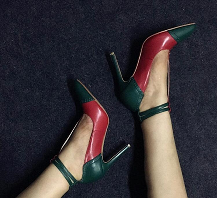 Spring 2017 New Women Sexy Red Green Patchwork 12 cm or 10 cm heel Buckle Pointed Toe Party Pumps Stiletto Heel Shoes цена