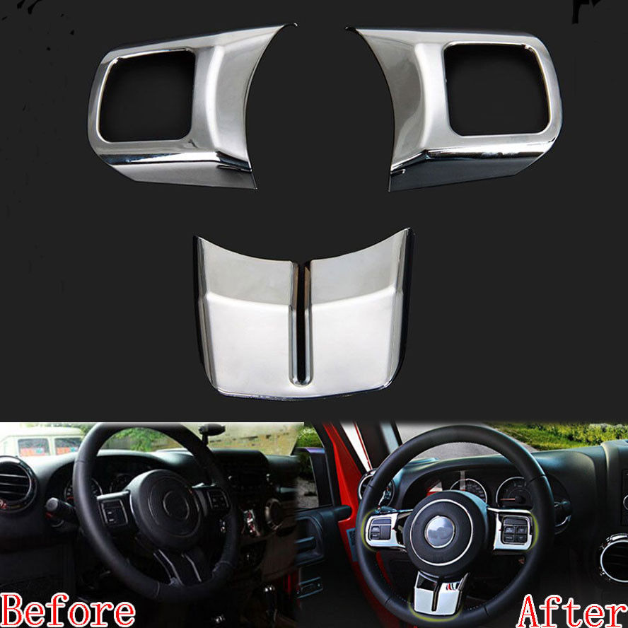 BBQ@FUKA 3Pcs Chrome Car Interior Steering Wheel Cover Trim Sticker Fit For <font><b>Jeep</b></font> Patriot <font><b>Compass</b></font> Wrangler 11-2015 Car Accessory image
