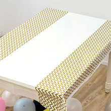 1PC Gold Silver stripe Tablecloth Tableware Set Wedding party birthday baby shower Valentines Day Decorations