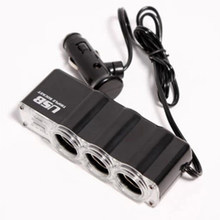 Car 3 Way Car Cigarette Lighter Socket Splitter Charger Power Adapter DC+USB 3 Port Plug 12V-24V(China)