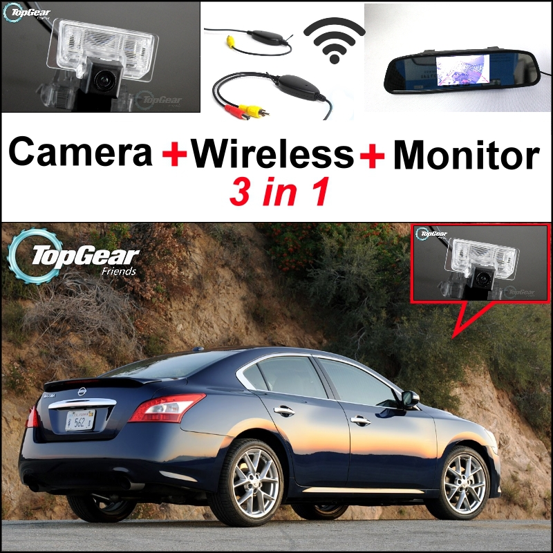 ФОТО 3 in1 Special Rear View Camera + Wireless Receiver + Mirror Monitor Easy DIY Parking System For Nissan Maxima 2003~2014