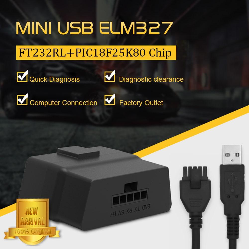 Original USB ELM327 V1.5 V07HU PIC18f25k80 + FT232RL Chip USB RS232 Port On PC ELM 327 Car Diagnostic Tool For All OBD2 Protocol