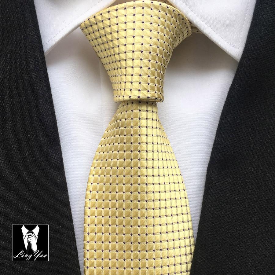 8cm Men Unique Formal Tie Bridegroom Wedding Necktie Yellow Checkers With Black Dots