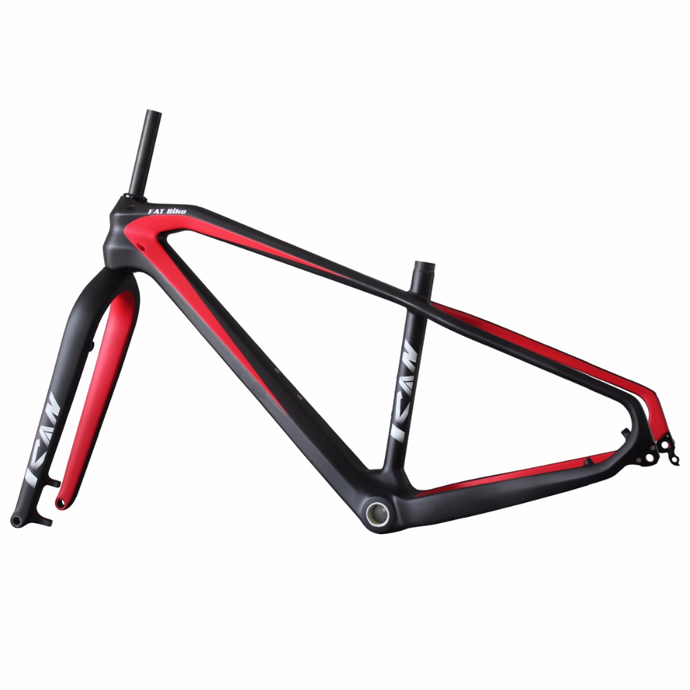 26er Carbon Fat Bike Frame 197mm Rear Space Fat Bike Carbon Frame UD Matt Red Color With Ican Brand 17/19 Inches SN02