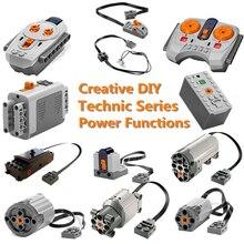 Technic Modified Car Power Functions Motor Set IR RX TX Servo Battery Box Building Blocks Bricks