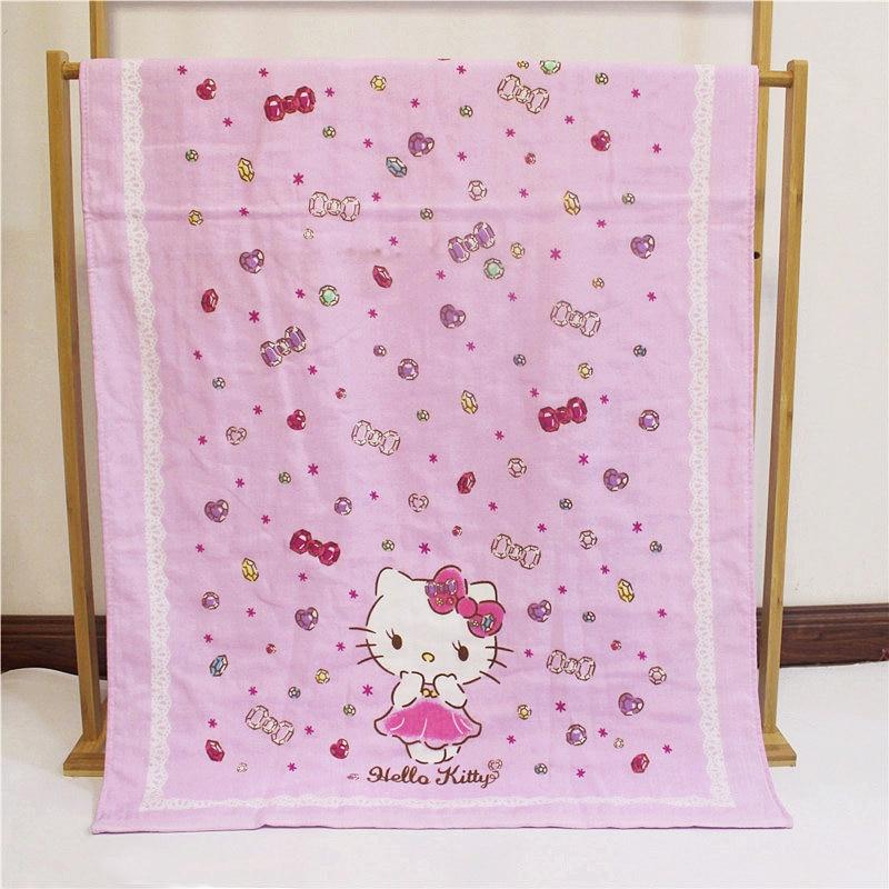 Super Soft 100% Cotton Hello Kitty Light Pink Baby Girls Bath Towel Drying Washcloth Pool Shower for Children Kids 70x140cm