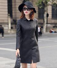 2018 New Women's Genuine Leather Coat Sheep skin Jacket Women Long Leather Jacket Woman Natural sheepskin Windbreaker