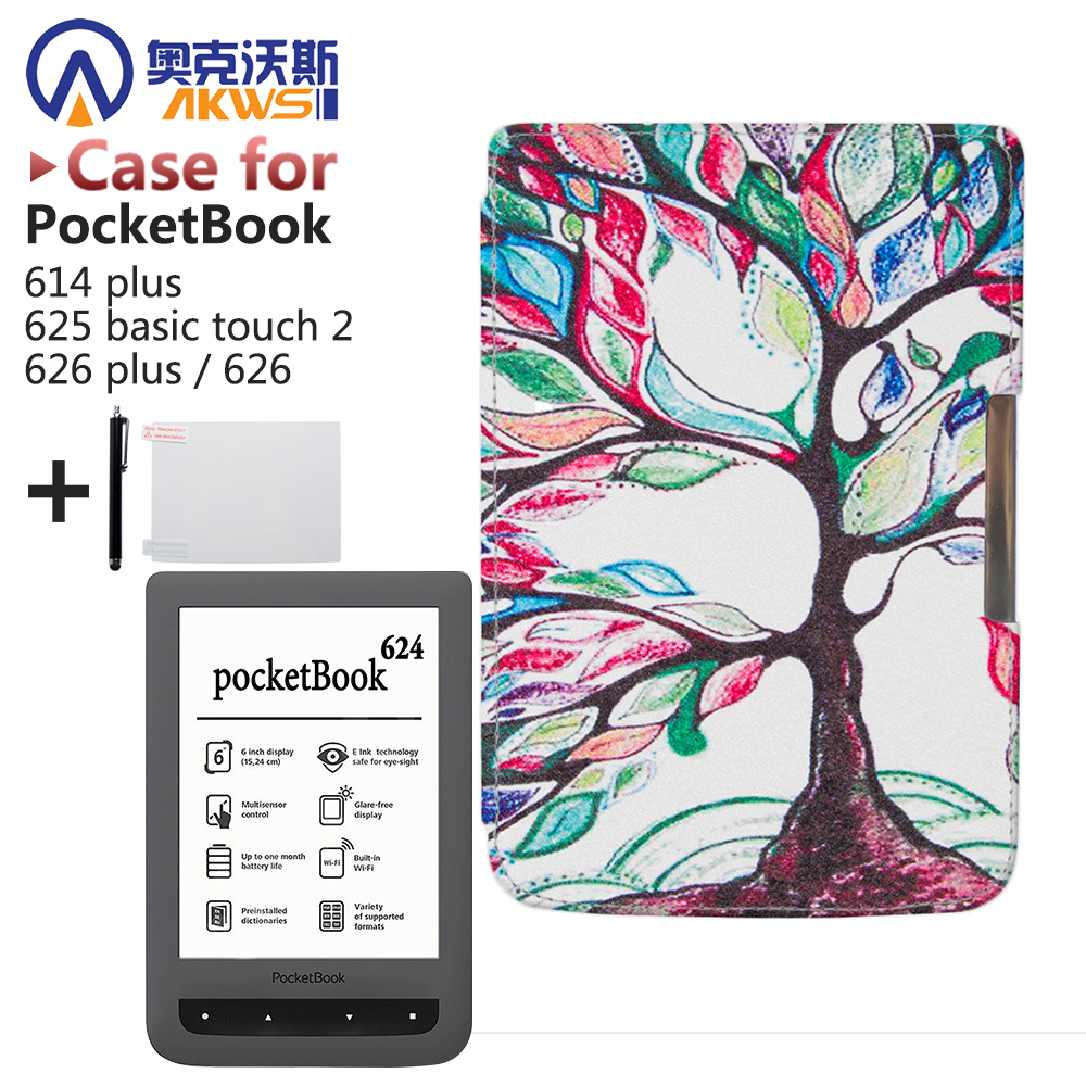 Für Pocketbook 614 plus, 625 grundlegende touch 2,626/626 plus ereader Schützender Intelligenter Pu-leder Cove Fall Haut + geschenk