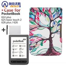 Para el Cuaderno 614 plus, 625 táctil básico 2,626/626 plus ereader Protector Inteligente PU Caso Ensenada de Cuero Piel + regalo